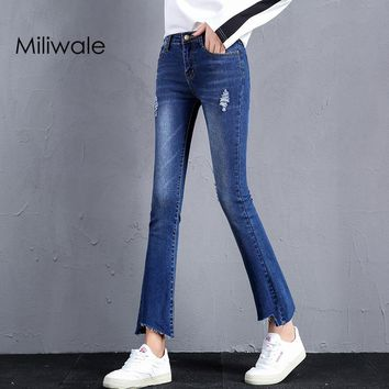 New fashion elastic ankle length flare female pants washed ripped lady denim pants slim high waist women jeans