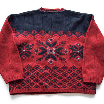Red and Black Snowflake Sweater for Men and Women Size L