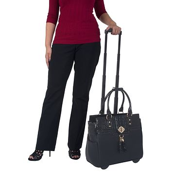 THE MILANO Black & Alligator Rolling Laptop Carryall Trolley Bag