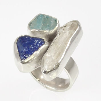 925 Silver Ring with Precious Stones rough Tanzanite, Aquamarine and Diamond Herkimer. Handmade 100% Made in Italy