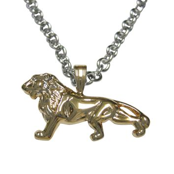 Gold Toned Shiny Textured Lion Pendant Necklace