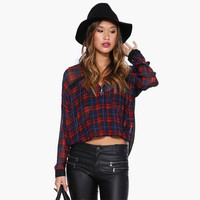 Plaid V-Neck Crop Front Long Sleeves Sheer Chiffon  Top