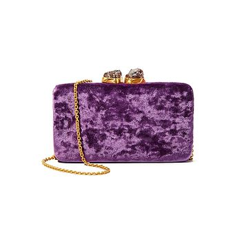 Purple Velvet Margaux Clutch