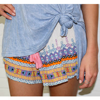 Machu Picchu Tribal Print Drawstring Shorts
