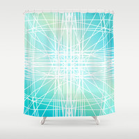 Linear Oceanblast Shower Curtain by Lisa Argyropoulos