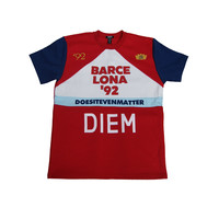 Diem Lona Crew T-Shirt In Red/Navy