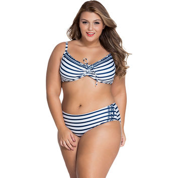 Navy White Striped Underwire Swimsuit Sale LAVELIQ