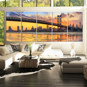 "100"" x 40"" Canvas Print Ben Franklin Bridge and Philadelphia Skyline by Night + Philadelphia Canvas Art Printing + 5 Panel Wall Art Canvas"