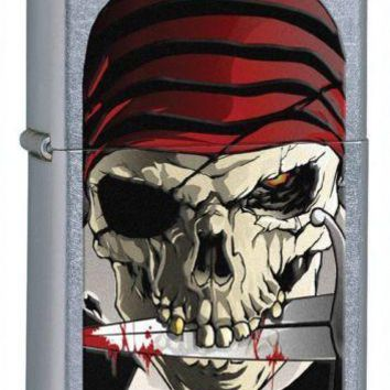 Zippo Pirate Skull Street Fighter Chrome Lighter Flint Ignition Windproof Flame