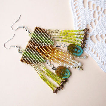 Unique micro macrame earrings - Tassel Chartreuse Gold Yellow Fringe OOAK Beadwork Bohemian Boho Picasso beads