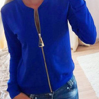 Blue Zipper Long Sleeve Jacket