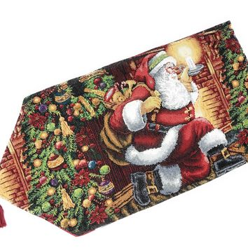 Tache Festive Down the Chimney Woven Tapestry Table Runners (DB11533-1354)