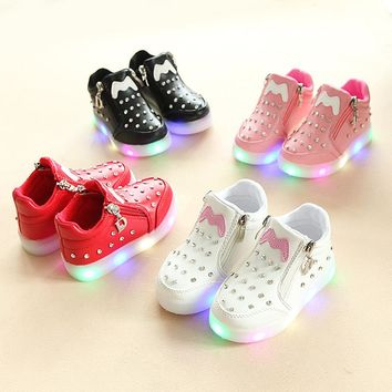 fashion LED lighting children shoes relaxatio  boys girls pure color M pattern Glowing Sneakers