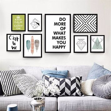 Scandinavian Style Black White Wall Mural 50cm × 40cm Nordic Morden Sofa Background Wall Decor Creative Frameless Painting Big S
