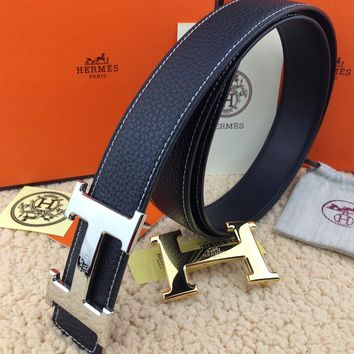 New Authentic Hermes men's belt 38mm black Double Buckle 2H
