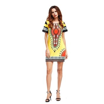 summer sexy package hip mini Dress Dashiki Traditional Print African dresses beach bodycon vintage dress Yellow