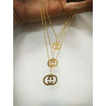 GUCCI Classic Stylish Women Girls Simple Pendant Stainless Steel Necklace Earrings Set Accessories Jewelry I/A