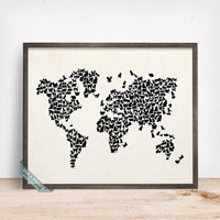 Cat World Map Print, Cats World Map, World Map Poster, Animal Wall Print, Dorm Decor, Animal Map, Baby Room Decor, Mothers Day Gift