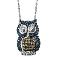 Owl Pendant Necklace with Crystals - Blue