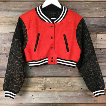 JACKET WITH PRINT SLEEVE - ORANGE