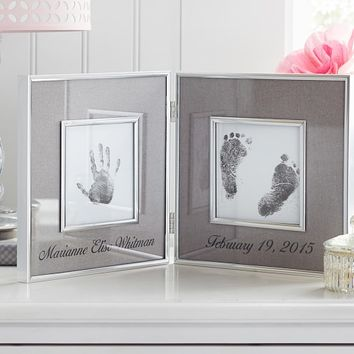 Silver & Gray Linen Handprint & Footprint Frame