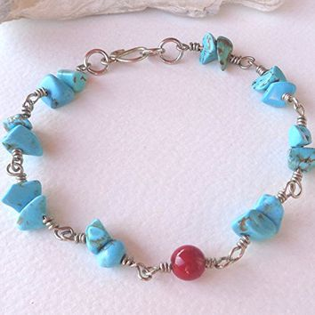 Turquoise,Coral Silver Bracelet