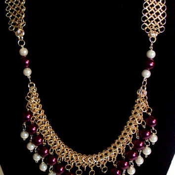 Burgundy white necklace - gold chainmaille necklace - glass pearl necklace - glass bead necklace - beaded necklace - collar necklace