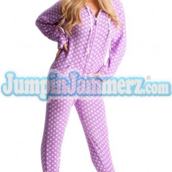 Purchase Chenille Purple Polka Dots Womens Onesuit Pajamas Online | World's Best PJ Store