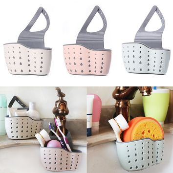 Sink Shelf Soap Sponge Drain Rack Sucker Holder Basket Kitchen Storage Tool