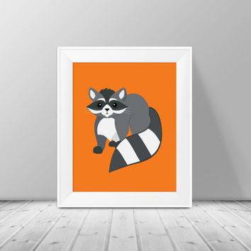 Raccoon Nursery Print - Instant Download, PRINTABLE 8x10, Nursery Print, Boy or Girls Room Decor, Raccoon Nursery Print