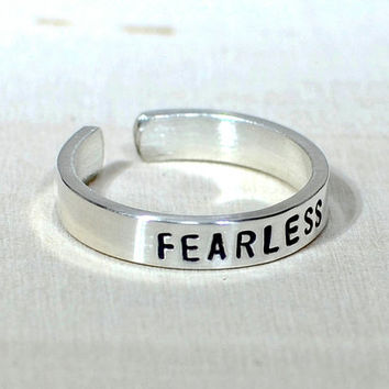Sterling Silver Fearless Toe Ring - Solid 925 TR887