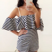 Sling Leakage shoulder Wrapped chest stripe Zebra Rompers