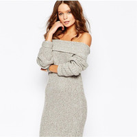 Winter Sexy Strapless Knit Sweater [8607595015]