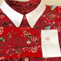Dress shirt with floral print 'Bird' in red, vintage inspired bespoke shirt, made to measure shirt