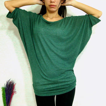 Forest Dark Green Shirt - Women Shirt -   Dolman Sleeves Tee / Oversized Tee / Batwing Shirt / Poncho Sleeve - Women Casual Comfy Top