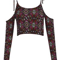 Lauren Folk Print Tie Shoulder Crop Top