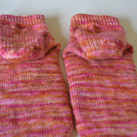 Women's Lace Hand Knit Ankle Socks Hand Dyed Yarn