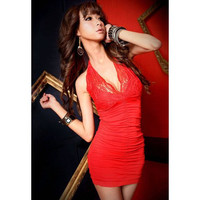 Red Halter Bodycon Lace Dress