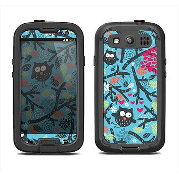 The Blue and Black Branches with Abstract Big Eyed Owls Samsung Galaxy S3 LifeProof Fre Case Skin Set