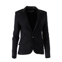 Ralph Lauren Womens Leather Collar Denim One-Button Blazer
