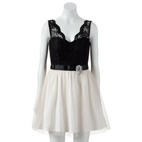 Lily Rose Glitter & Lace Dress - Juniors