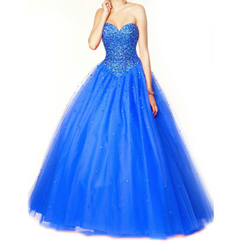 Low Back Hot Pink Quinceanera Dresses 2015 Beading Vestido De Debutante Ball Gown Blue Quinceanera Gown Strapless