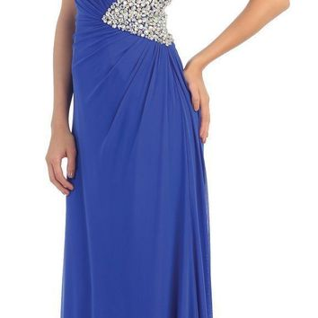 Long Sequins Chiffon Strapless Low Back Prom Formal Dress