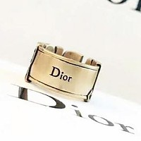 DIOR Fashion New Letter Hollow Personality Ring Accessories