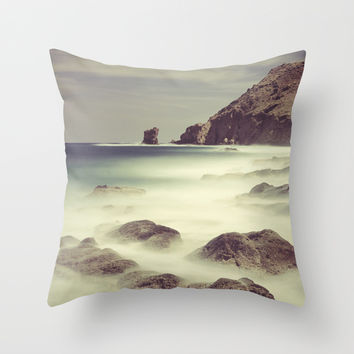 Water. Volcanic rocks. Throw Pillow by Guido Montañés