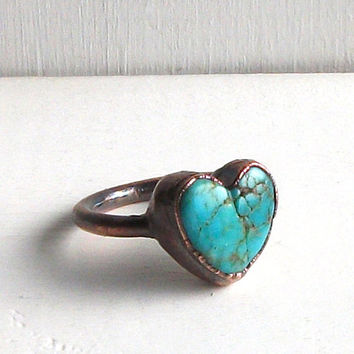 Raw Turquoise Ring Valentine Heart Gemstone Birthstone Size 6 Cocktail Ring Copper Jewelry Robins Egg Blue