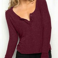 Red Wine Long Sleeve Buttoned T-Shirt