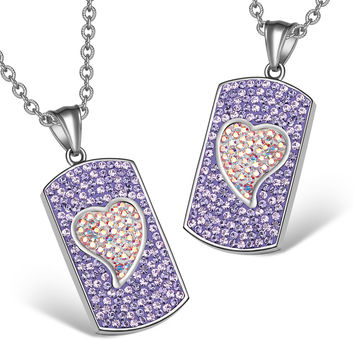 Magic Hearts Austrian Crystal Love Couples or Best Friends Dog Tag Purple Rainbow White Charm Necklaces