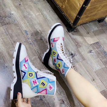 2020 New Office FENDI women Logo-embossed leather knee boots high heel shoes Ankle Short white lace up brown Boots top quality