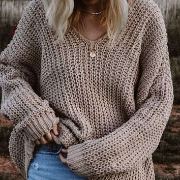TBW: CATCH ME OUTSIDE SWEATER (TAUPE)